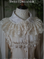 Dual-Layer Lace Trimmed Collar Blouse by SweetDreamer