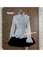 Ruffled Collar Lace-up Back Blouse by Strawberry Witch
