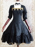 Custom Size Available Charming Square Neckline Brocade A-Line OP by Strawberry Witch