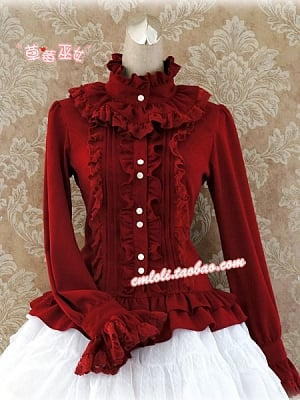 Flouced Stand Collar and Ruffled Placket Blouse by Strawberry Witch