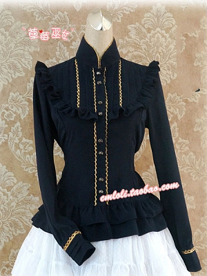 Stand Collar Gold-Lace Trimmed Blouse by Strawberry Witch