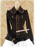 Fold Over Collar Gold-Lace Trimmed Blouse by Strawberry Witch