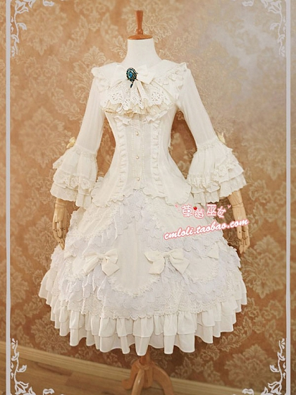 Custom Size Available Solid Trumpet Sleeve Top Bridal Special Set by Strawberry Witch