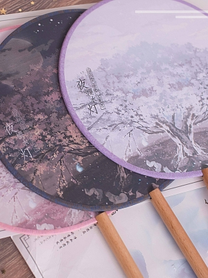 Cherry Blossoms and Water Lights Circular Fan by Strawberry Witch