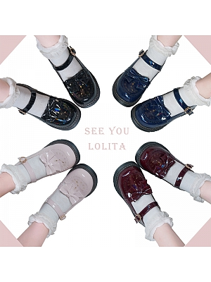 Little Clock Round Head Flat Bottom Lolita Shoes by See You Lolita