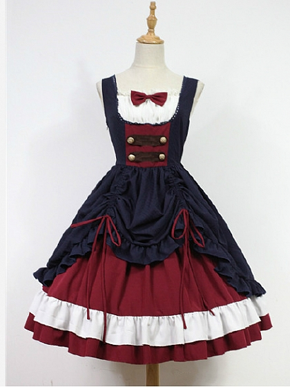 Custom Size Available Bow Decorated Neckline Layered Skirt Lolita JSK- Snow White by Souffle Song
