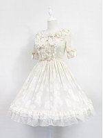 Short Sleeves With Flounce Hemline Lolita Summer Dress Summer Lolita OP - Summer Secrets by Souffle Song