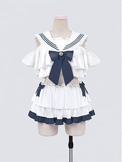 Cute Sailor Collar Top and Mini Skirt Swim Suit by To Alice