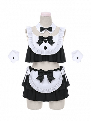 Cute Bunny Girl Top and Mini Skirt Black and White Swim Suit by To Alice