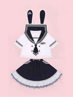 Ponny Bunny Sailor Suit with Lace Flounce Trim Doll Paradise by To Alice