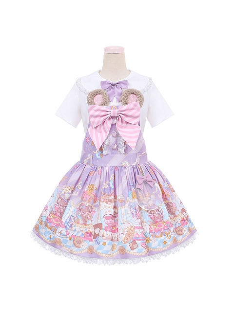 Sweet Mouse Prints Low Waist Dress Doll Paradise by To Alice
