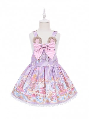 Sweet Mouse Prints Lower Waist Lolita Overall Dress for Kids by To Alice
