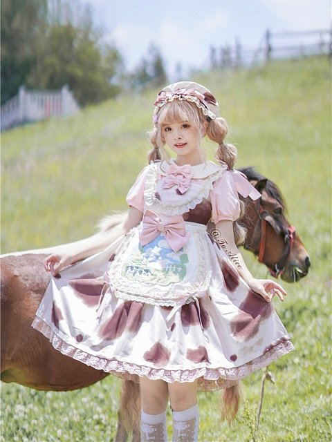 Ranch Story Cow Prints JSK with Free Apron by To Alice