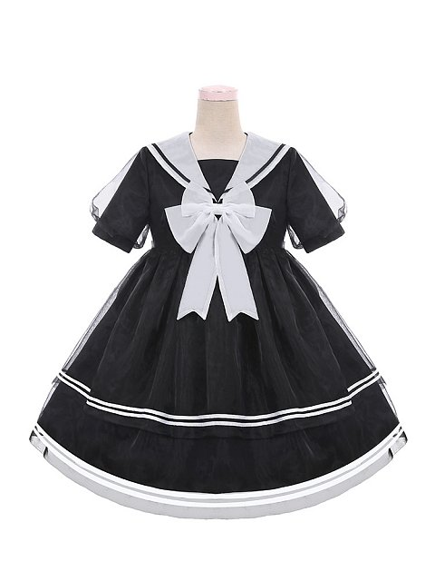 Sweet Cellophane Boat Navy Collar Lolita Dress OP by To Alice