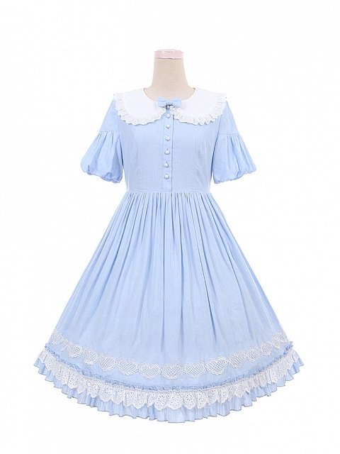 Doll Collar Short Puff Sleeves Lolita Dress OP by To Alice