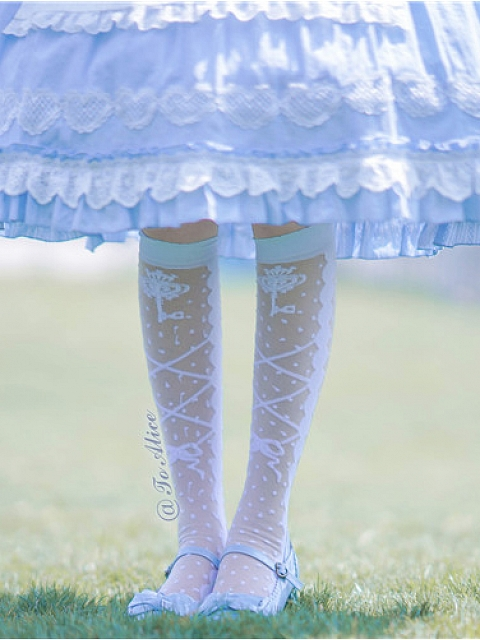 Doll Collar Short Puff Sleeves Lolita Dress OP Matching Stockings by To Alice