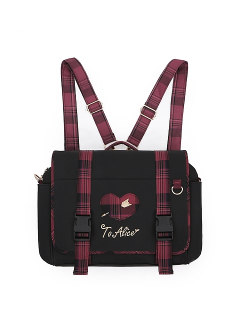 Idol Declaration Plaid Backpack Cross-body Bag by To Alice