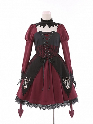 Rose Cross Lace Halloween Gothic Lolita Dress OP by To Alice