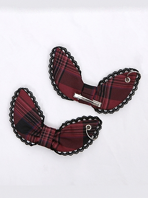 Magic Girls Trainee Plaid Patchwork Lolita Matching Hairclips by To Alice