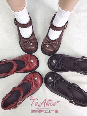 Round Head Sweet Lolita Platforms Shoes by To Alice