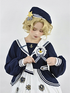 Little Penguin Navy Style Lolita Dress Matching Beret by To Alice