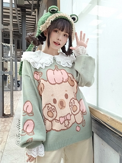 Peach Teddy Sweater by To Alice