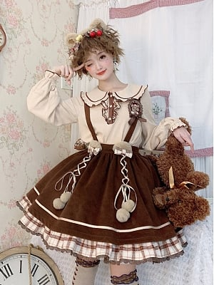 Detective Bear Lolita Strap Dress SK / Blouse by To Alice