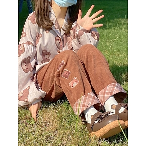 Coco Bear Corduroy Wide Leg Long Pants by To Alice
