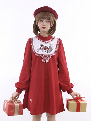 Baby Bear's Gift Box High Collar Embroidery Front Dress by To Alice