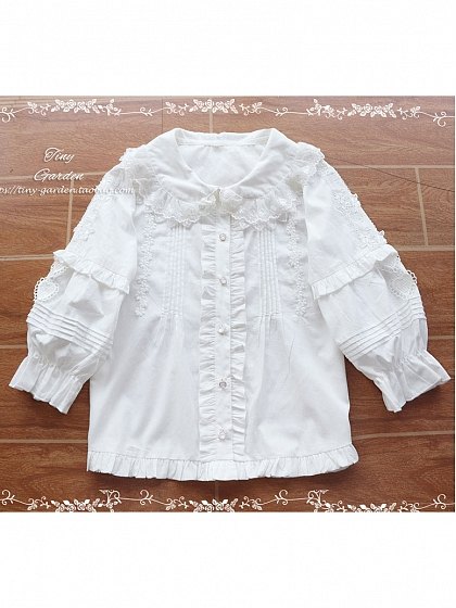 Pre-order Robin Double Lace Cotton Mid-sleeves Blouse by Tiny Garden