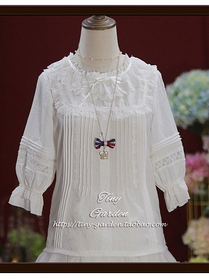 Pre-order Kitten Thin Cotton Round Collar  Long-sleeves Blouse by Tiny Garden