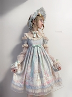 First Love to Be Continued Floral Series Lolita Dress Matching Bonnet by This Time