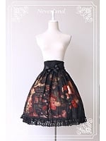 High Waisted Oil Painting Skirt with Bowknot Decoration - The Maiden in the Garden by Souffle Song