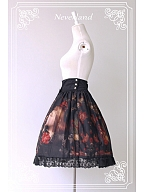 Custom Size Available High Waisted Oil Painting Skirt with Bowknot Decoration - The Maiden in the Garden by Souffle Song