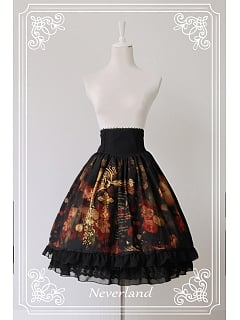 Custom Size Available High Waisted Oil Painting Printed Lolita Skirt - The Maiden in the Garden by Souffle Song