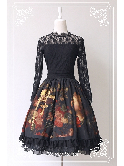 Long Lace Sleeves Lolita One Piece Dress - The Maiden in the Garden by Souffle Song