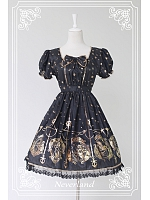 Bowknot Decorated Short Puff Sleeves Lolita Dress / OP-  The Mermaids Sing by Souffle Song
