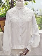 Layered Lace Trimmed Neckline Bishop Sleeve Blouse by Tiny Garden