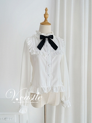Stand Collar With Bowknot Lace Long Sleeve Blouse