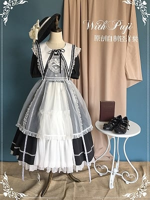 Elegant Lolita Dress with Flounce Tiered Skirt by With PUJI