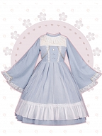 Pearl Bottons Trumpet Sleeves Bell-shaped Lolita Dress by With PUJI