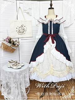 Snow White Long Sleeves Lolita Dress OP by With PUJI