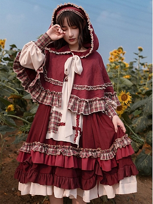 Little Red Riding Hood Long Sleeves Lolita Dress OP by With PUJI