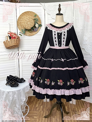 Anna Autumn Rose Embroidery Lolita Dress OP by With PUJI