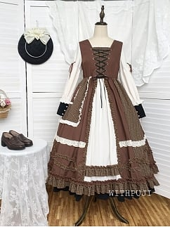 Pinecones Autumn Plaid Vintage Dress OP by With PUJI