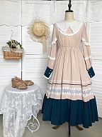 Song of Makino Country Lolita Dress OP with Vest and Apron by With PUJI