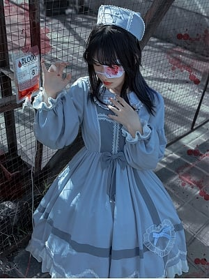 Clara Rhapsody Nurse Lolita Dress Matching Hat by With PUJI