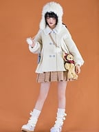 White Bunny Candy Lolita Padded Coat with Detachable Bowknot by With PUJI
