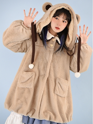 Bear Cocoa Tea Lolita Plush Hat by With PUJI