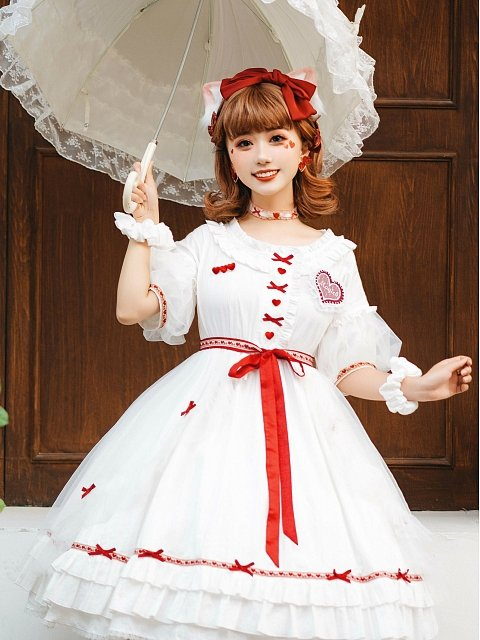 Sweet White Lolita Dress with Red Hearts Decoration by WanYeJi Couture